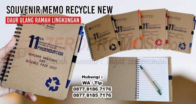 MEMO RECYCLE NEW - memo recycle daur ulang, Souvenir Memo Recycle New - Peralatan Kantor, Memo Recycle + Pulpen untuk souvenir,  memo recycle daur ulang ramah lingkungan.