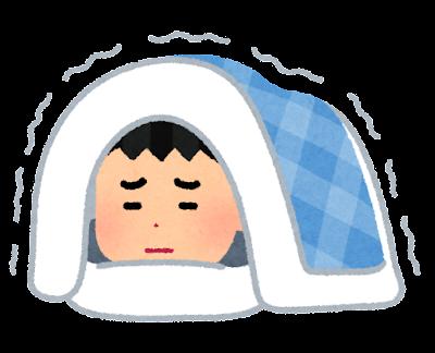 寒くて布団が出られない人のイラスト(男性)