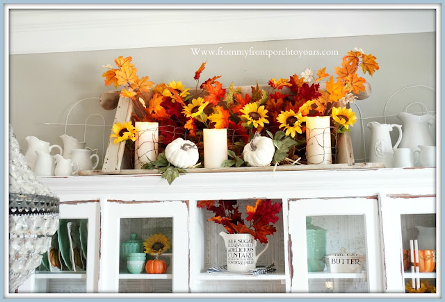 Farmhouse Cottage Style Fall Dining Room-Floral Arrangement-DIY-From My Front Porch To Yours