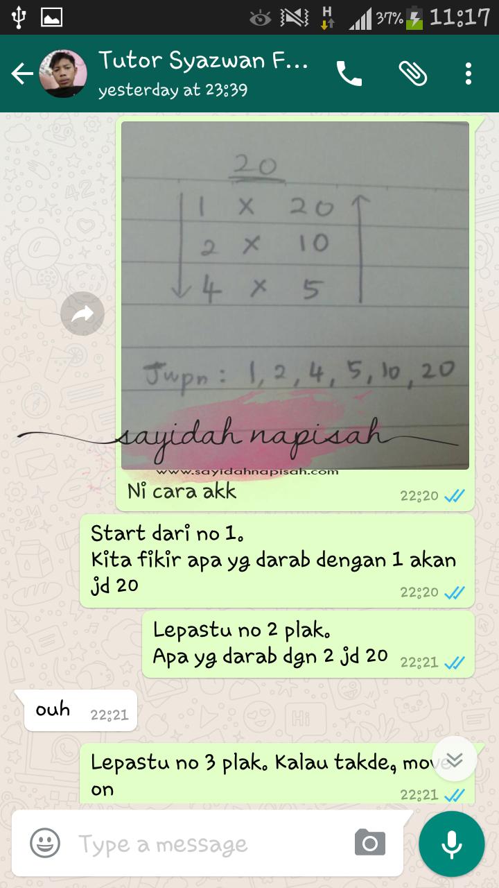 ajar student subjek matematik secara online (whatsapp)