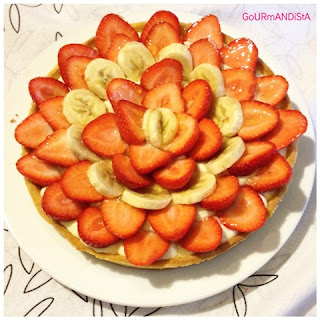 image-Tarte fraises-bananes et crème pâtissière vanille