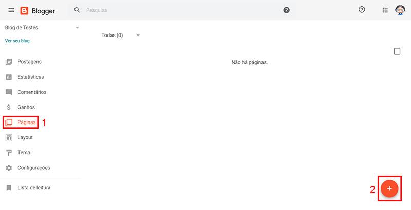 Imagem mostrando o Blogger aberto, indicando para clicar primeiro em Páginas e depois no símbolo + para criar nova página.