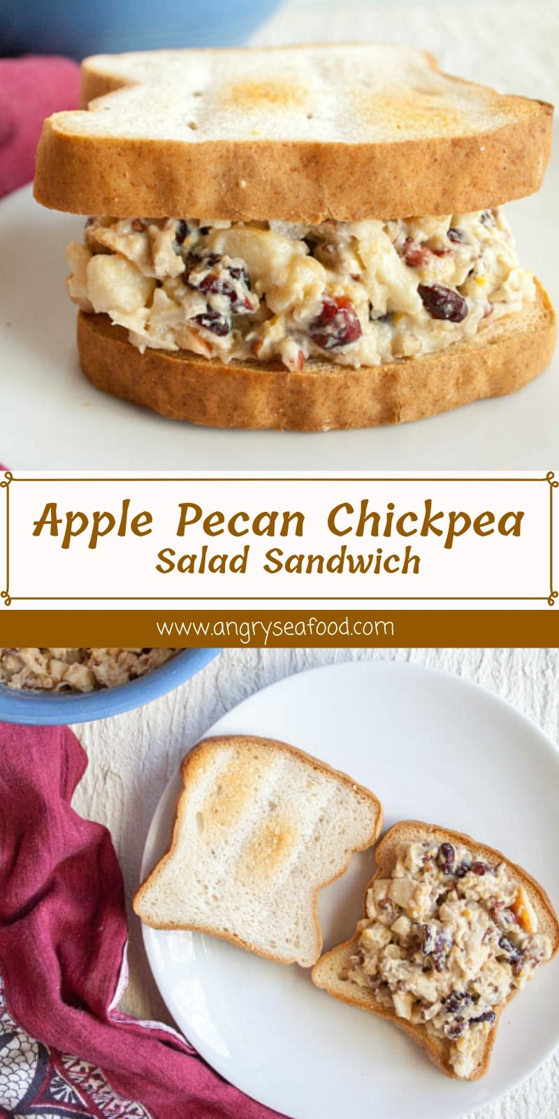 Apple Pecan Chickpea Salad Sandwich