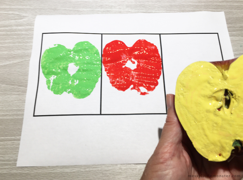 apple stamping activity for kids