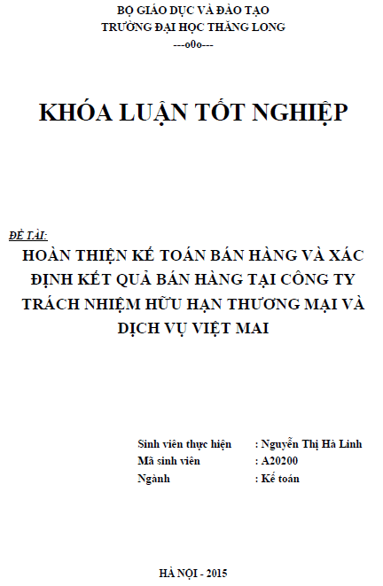 Hoàn thiện kế toán bán hàng và xác định kết quả bán hàng tại Công ty TNHH Thương mại và Dịch vụ Việt Mai