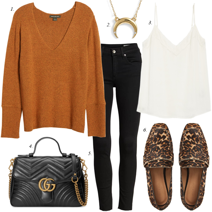 leopard loafers black gucci bag with black jeans and rust sweater