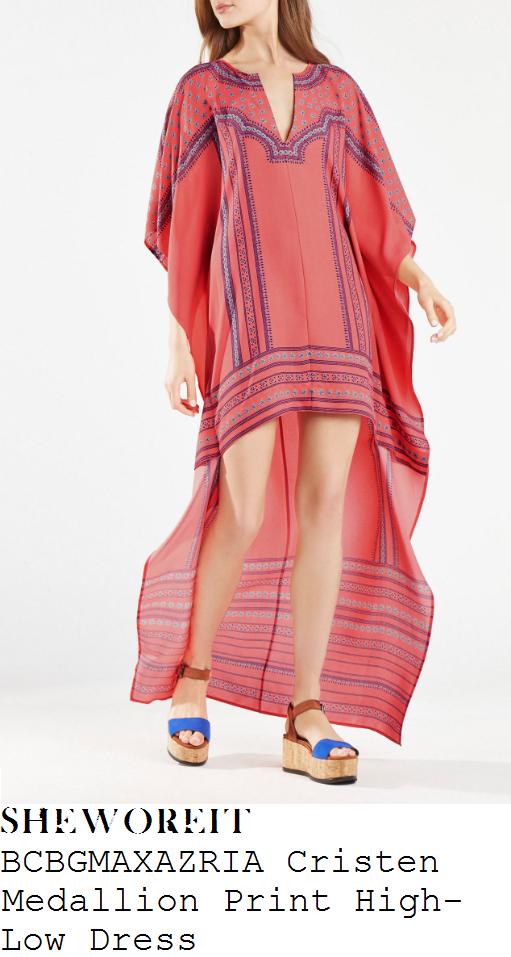 megan-mckenna-bcbgmaxazria-cristen-coral-pink-medallion-scarf-print-asymmetric-high-low-kaftan-dress