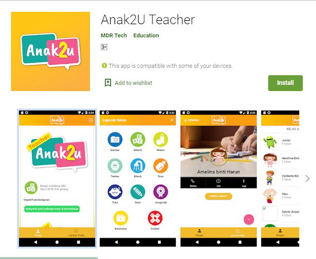 Aplikasi Anak2U, Proses Pengajaran dan Pembelajaran Lebih Mudah Dengan Adanya Aplikasi Anak2U