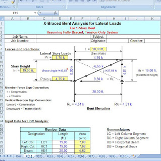 bracing bent analysis for lateral loads - calculation with spreadsheet excel document.
