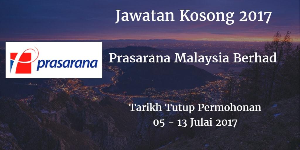 Jawatan Kosong Prasarana Malaysia Berhad 05 - 13 Julai 2017