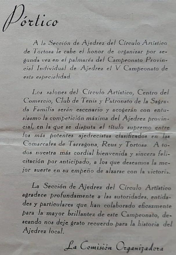Pórtico del boletín del V Campeonato Provincial de Tarragona-1963