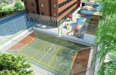 Quadra poliesportiva, piscinas, playground