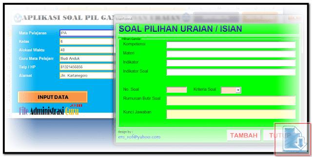 Soal Uraian Aplikasi Generator Auto Save Untuk Membuat Semua Jenis Soal Format Excel.Xlsm