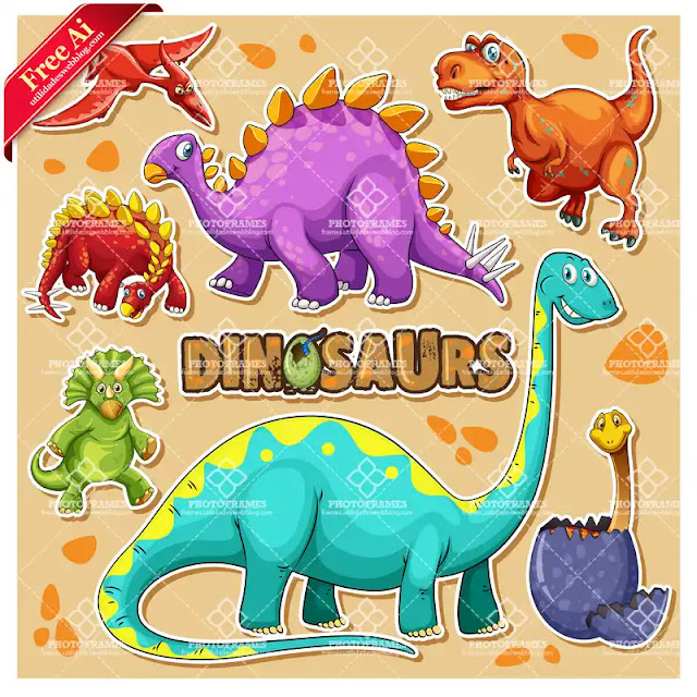 Vectores de calcomanías o stickers de dinosaurios
