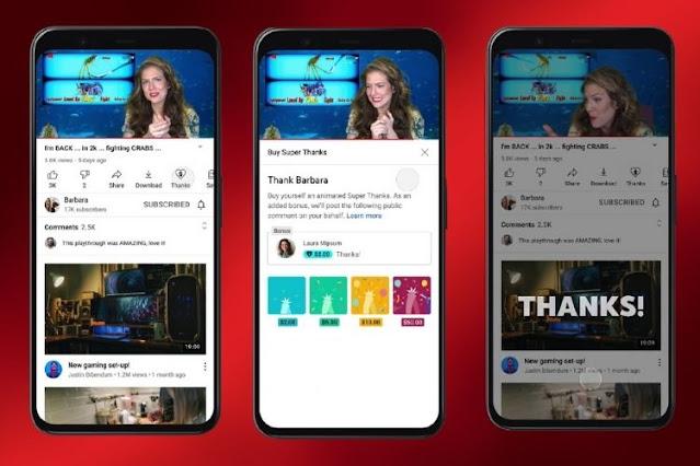 """يوتيوب يطلق ميزة """"Super Thanks"""" لدعم منشئي المحتوى"""
