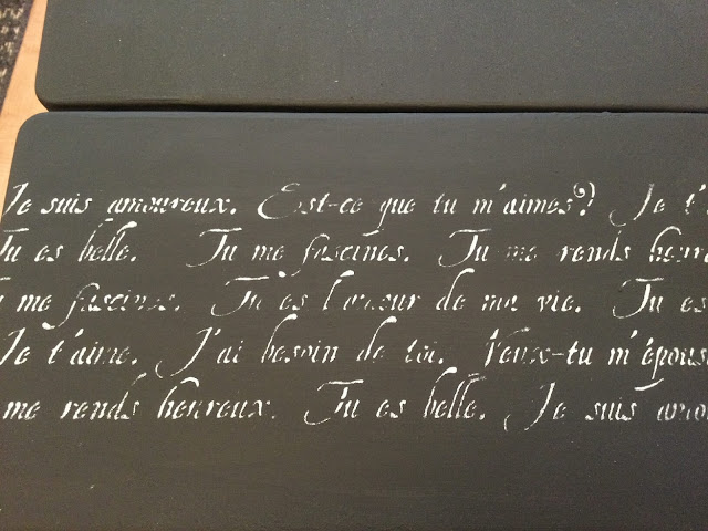 Photo of a French script stencil on the typing table leaf
