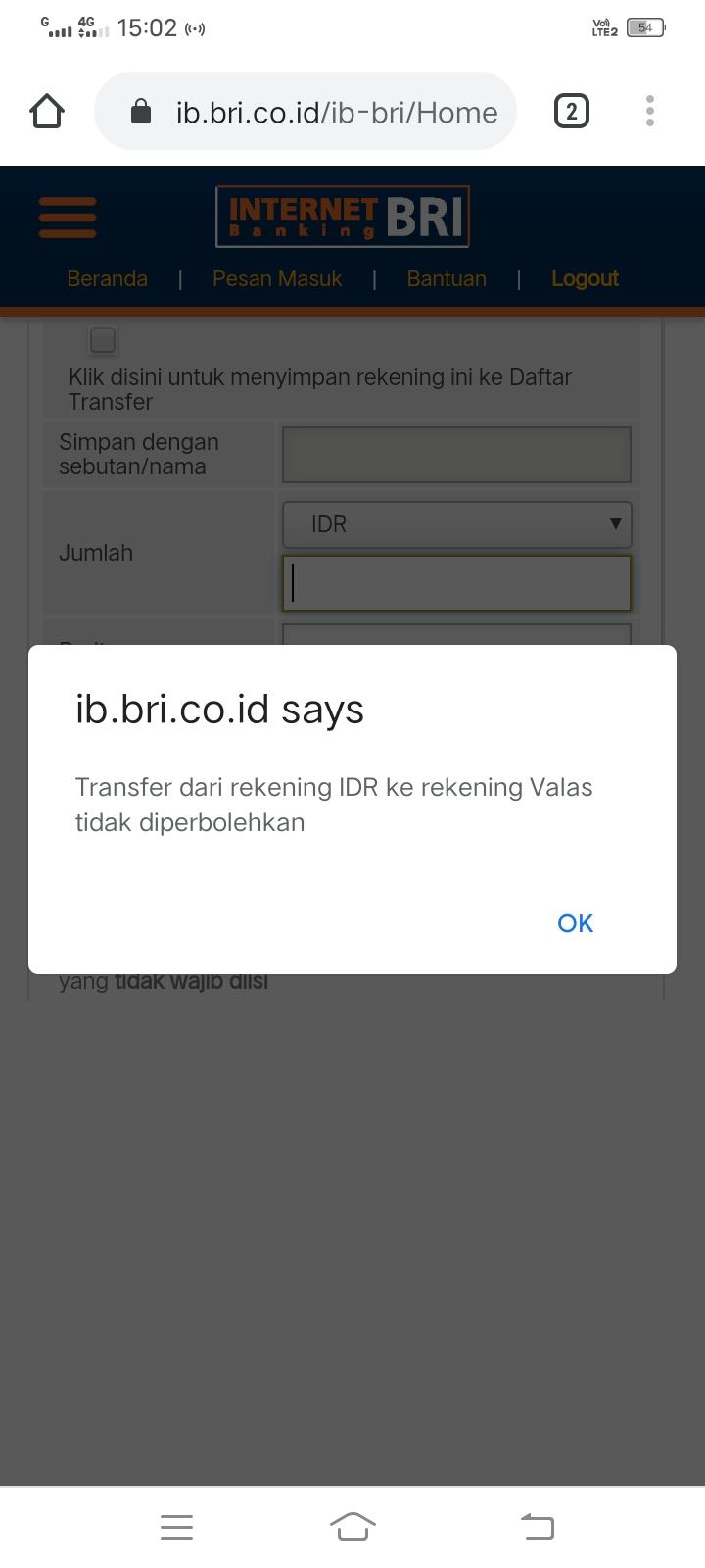Transfer Dari Rekening IDR Ke Rekening Valas Tidak Diperbolehkan