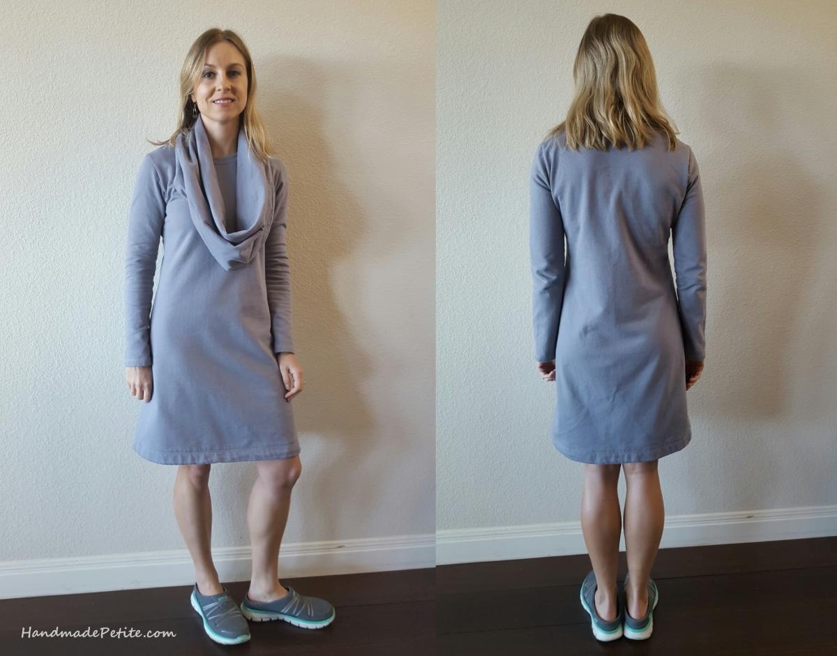 Handmade sweatshirt dress using Simplicity 2054 sewing pattern