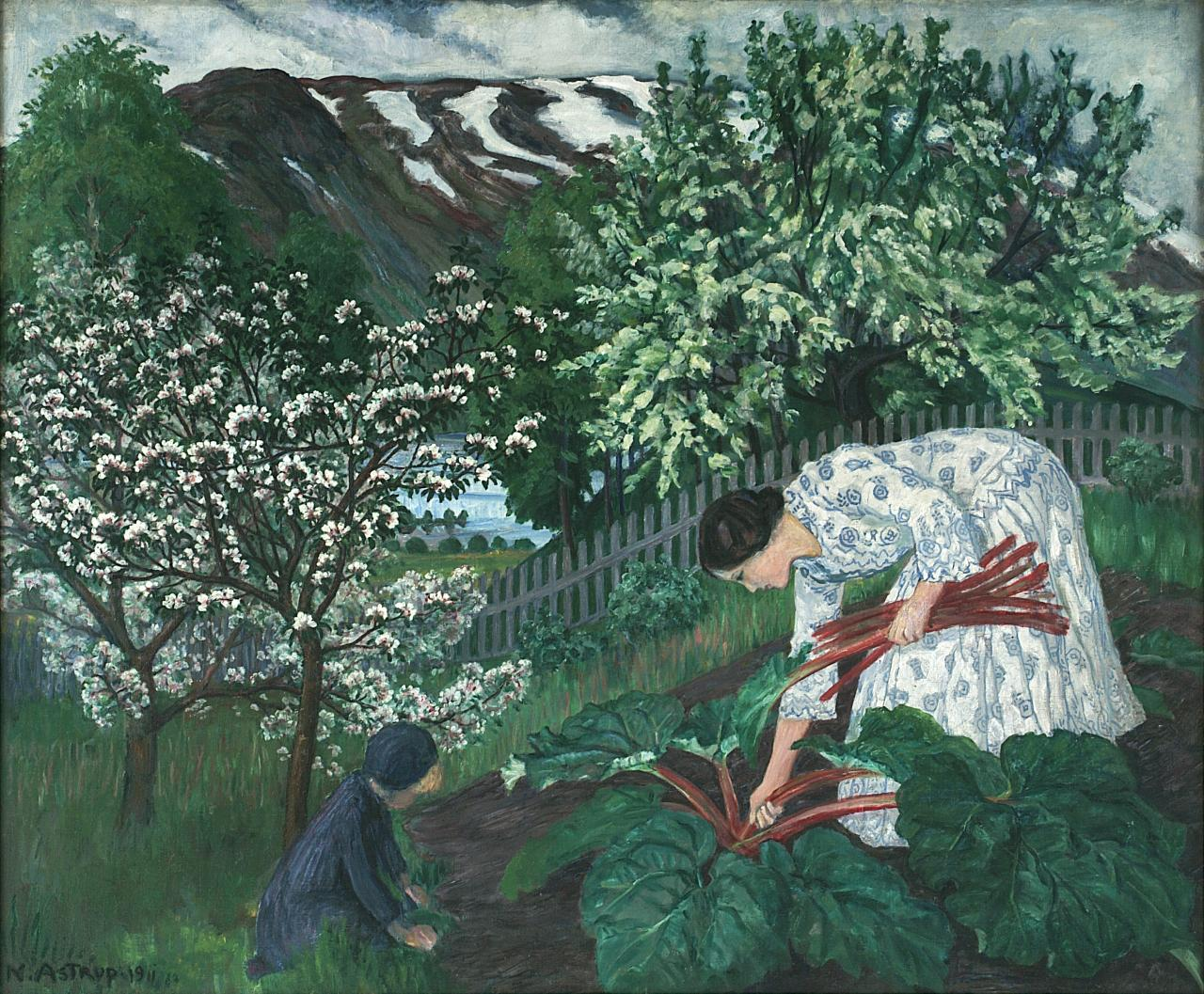 'Rabarbra' or 'Rhubarb' shows Astrup's wife Engel picking crisp stalks with her child, most likely Kari. Image: WikiMedia.org.