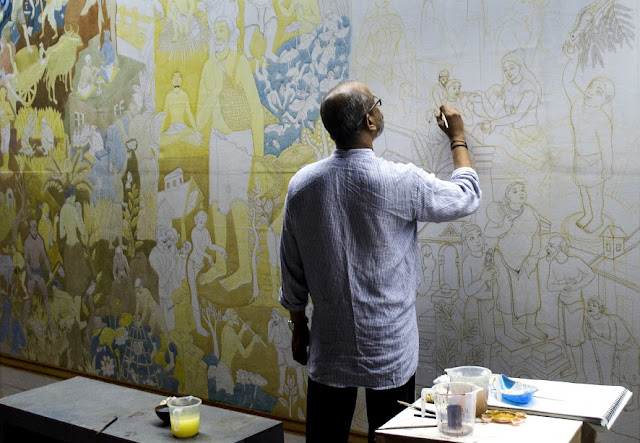 Kochi-Muziris Biennale: PK Sadanandan in the early stages of his mural painting