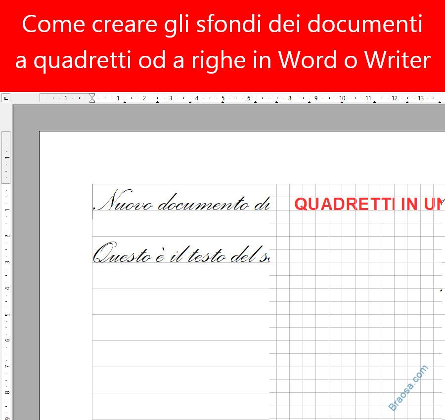 Come creare e inserire uno sfondo a quadretti o a righe in un foglio di testo Word o Writer