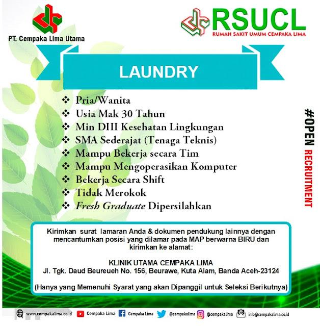 Lowongan Kerja Sebagai Loundry RSU Cempaka Lima Aceh Tahun 2020