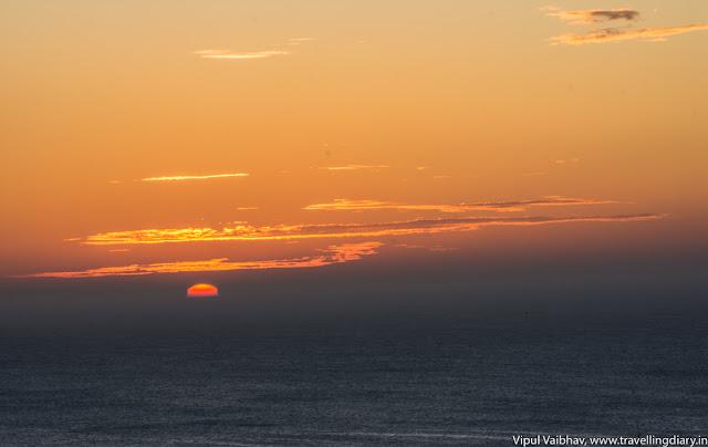 Sunrise rising above the horizon