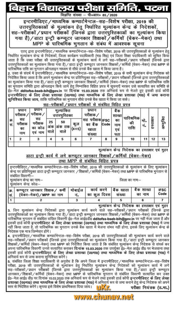 Matric & Inter copy evaluation 2019 due payment format BSEB