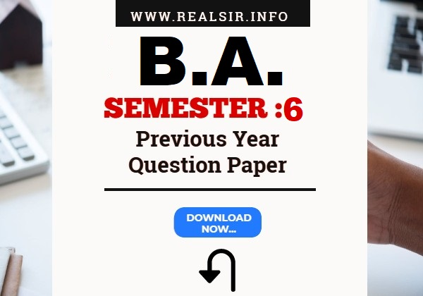 Gujarat University B.A. Semester-6 Previous Year Question Paper Download