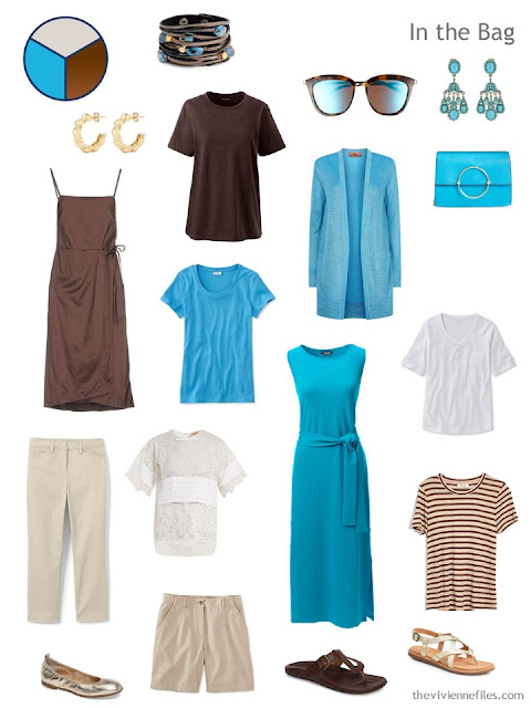 travel capsule wardrobe in blue, brown, beige and white for a warm weather vacation