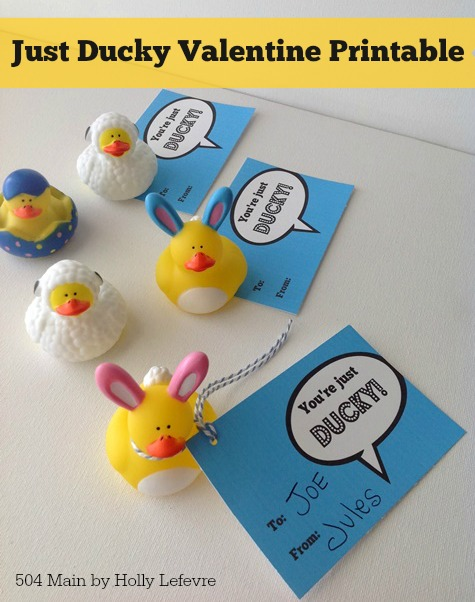"Add these cute printable Valentine tags to rubber ducks for a fun non-candy Valentines Day ""treat."""