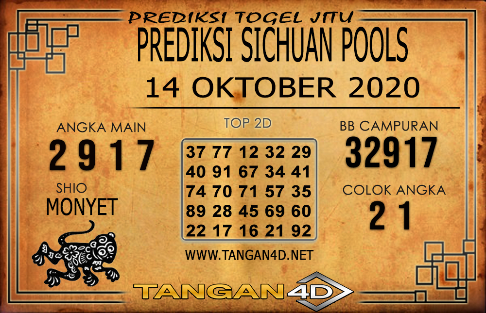 PREDIKSI TOGEL SICHUAN TANGAN4D 14 OKTOBER 2020