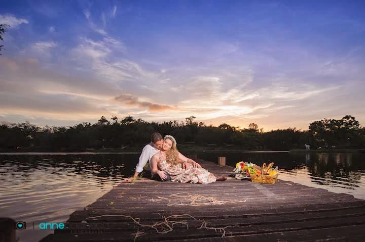 e-session - ensaio de noivos - ensaio - coroa de flores - piquenique - lagoa