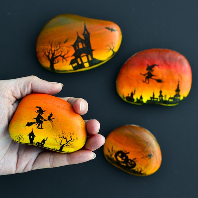 halloween silhouette rock painting idea