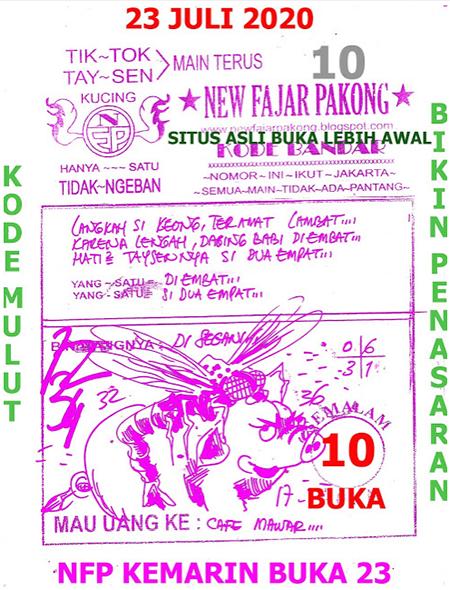 New Fajar Pakong Kamis 23 Juli 2020