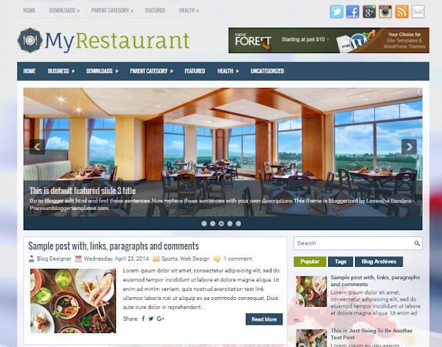 MyRestaurant free blogger template with features such as 1 Sidebar, 2 Columns, 3 Columns Footer                                                                                                                                                                                                                                                                                                                                                                                                                                                                      http://blogger-templatees.blogspot.com/