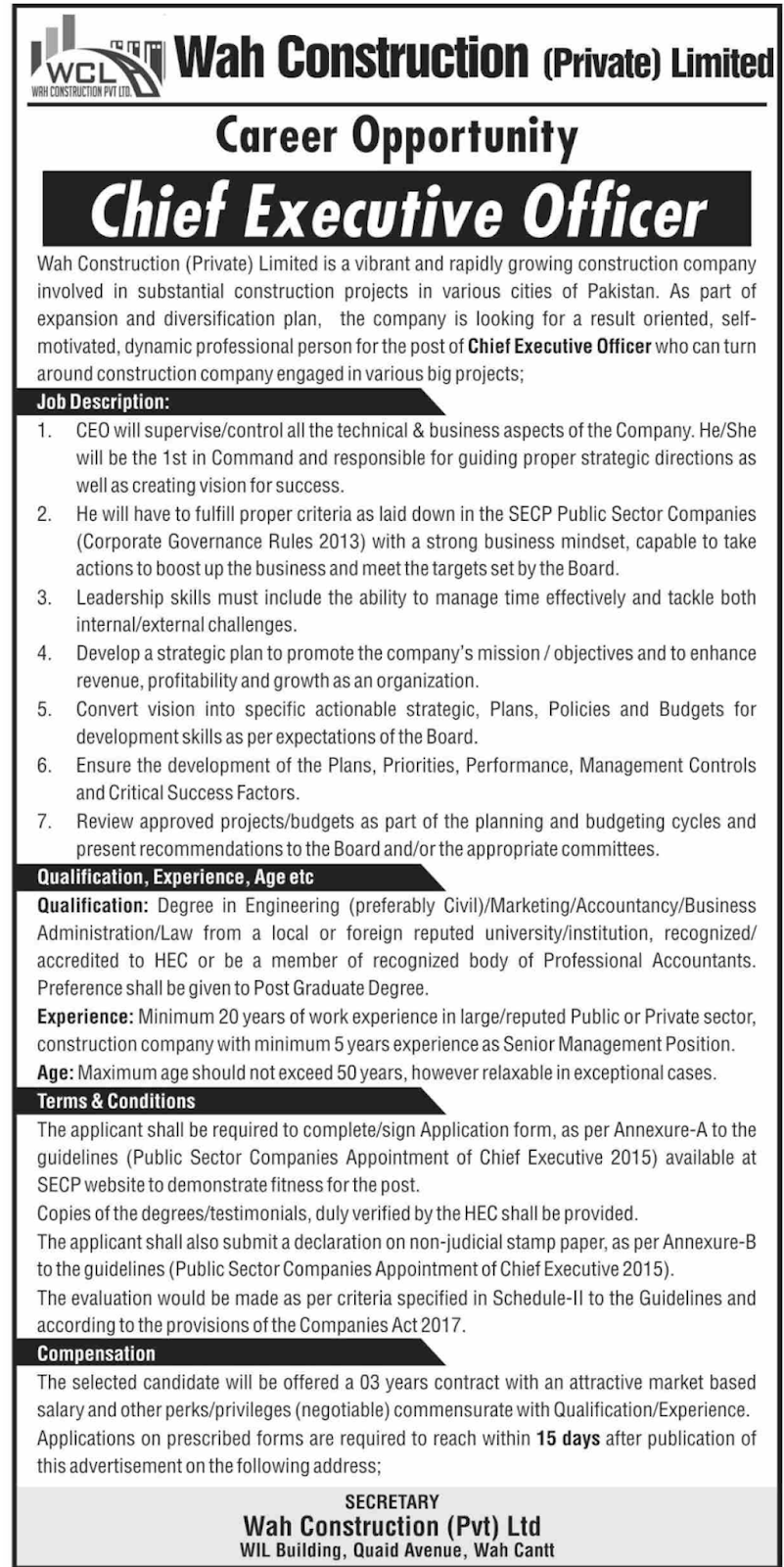 Jobs in Wah Construction Private Limited 2019