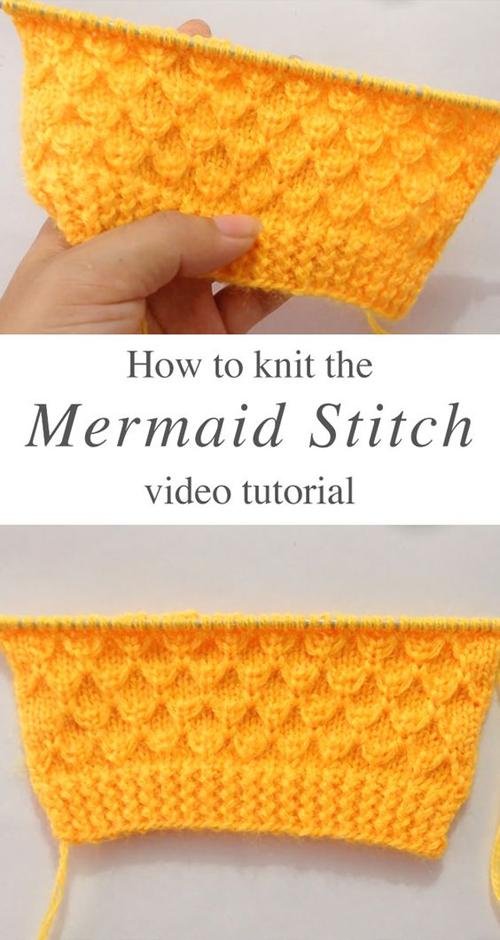 Knit Mermaid Stitch - Tutorial
