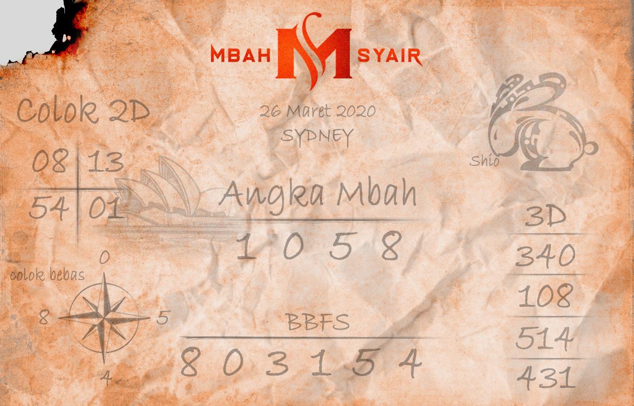 Prediksi Sidney Terjitu Kamis 26 Maret 2020 - Mbah Syair Sydney