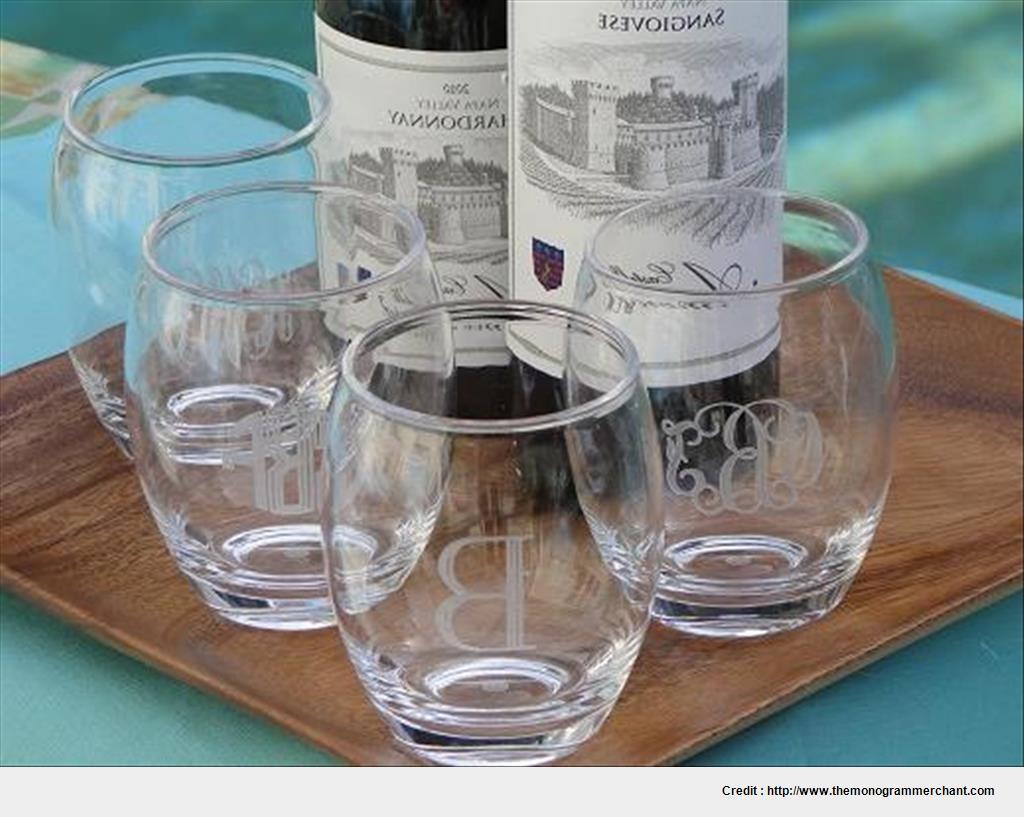 Best monogrammed stemless wine glasses acrylic wallpaper