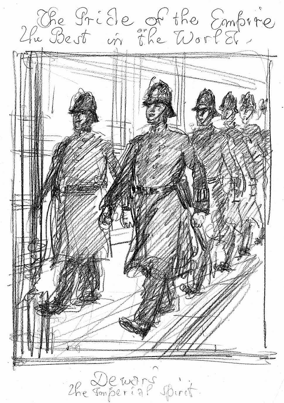 an Edmund J. Sullivan illustration sketch of policemen for a British whiskey advertisement