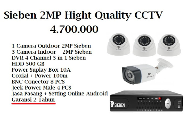 CCTV, Paket Murah, Camera 2MP, Sieben