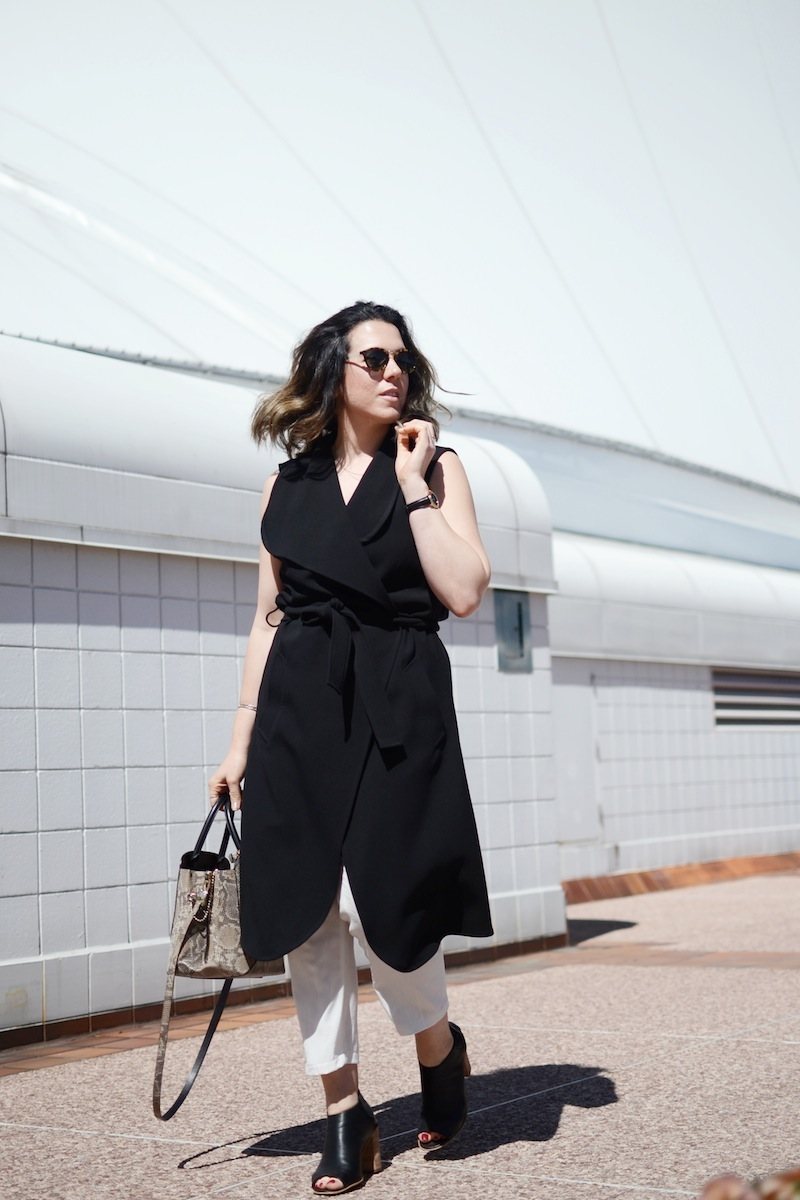 Le Chateau waterfall duster vest black and white chic look Vancouver fashion blogger