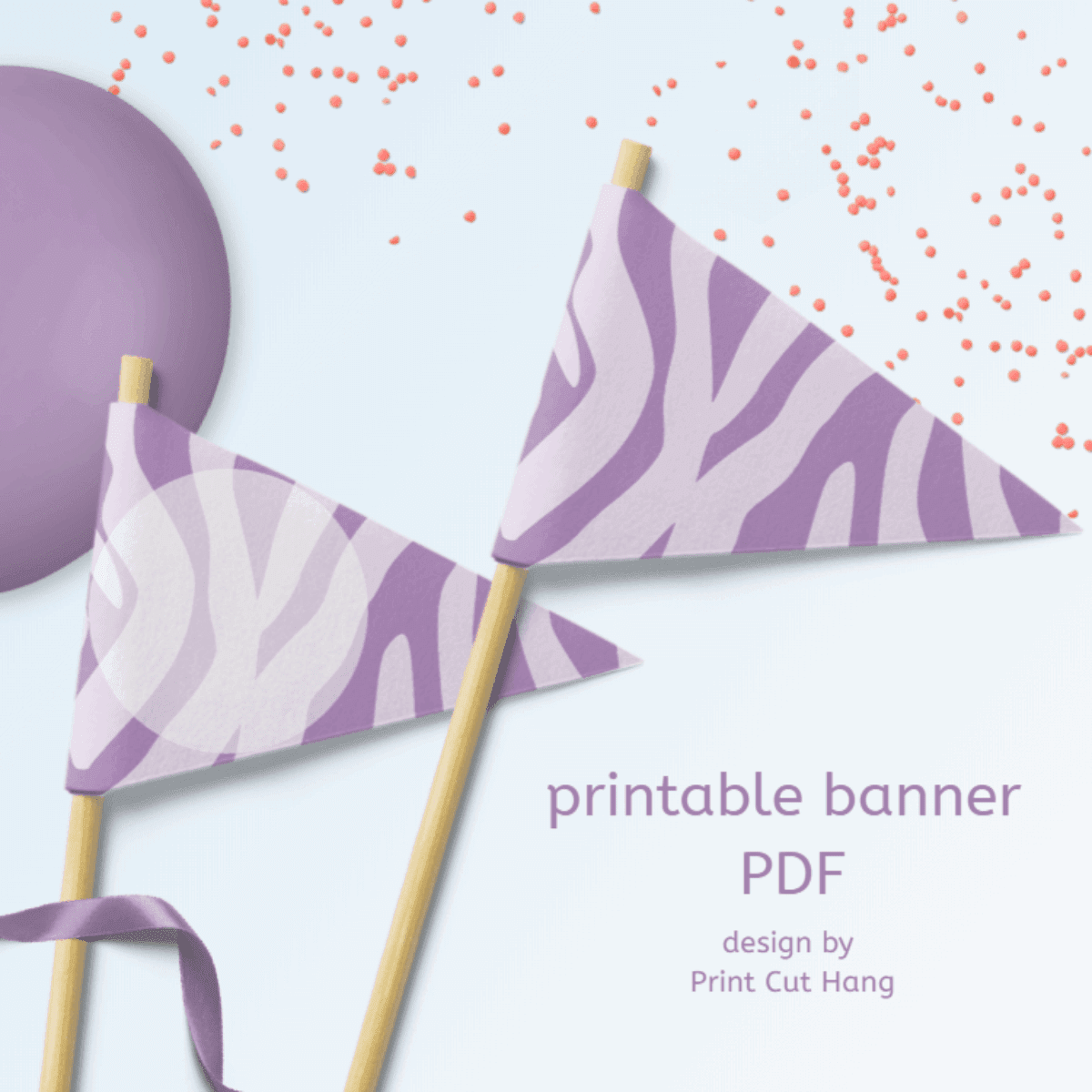 Printable Purple Zebra Party Garland
