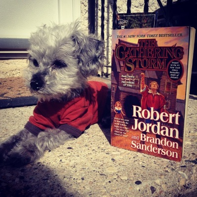 Murchie lies on a concrete step. He wears an orange t-shirt with dark brown trim. Beside him, propped upright, is a paperback copy of The Gathering Storm. Its ghastly cover features a man in a red jacket raising his hand to the sky. The equally awful background features a bashed up wooden building and a red-haired woman in a long brown skirt.