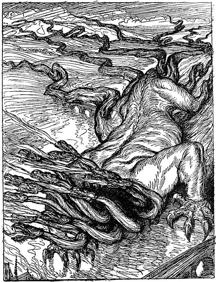 an Edmund J. Sullivan illustration of a crawling giant with snake heads