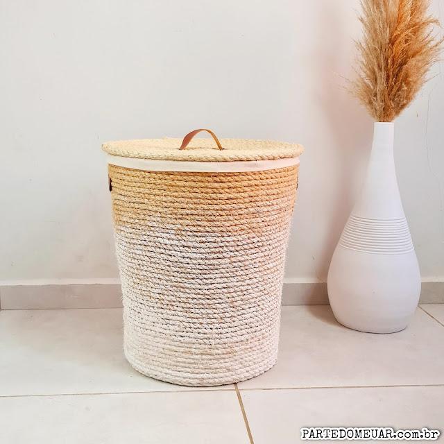 cesto de plastico com corda