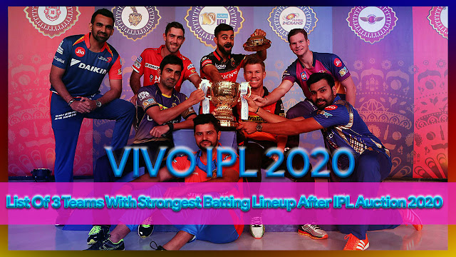 VIVO IPL 2020 - List Of 3 Teams With Strongest Batting Lineup After IPL Auction 2020