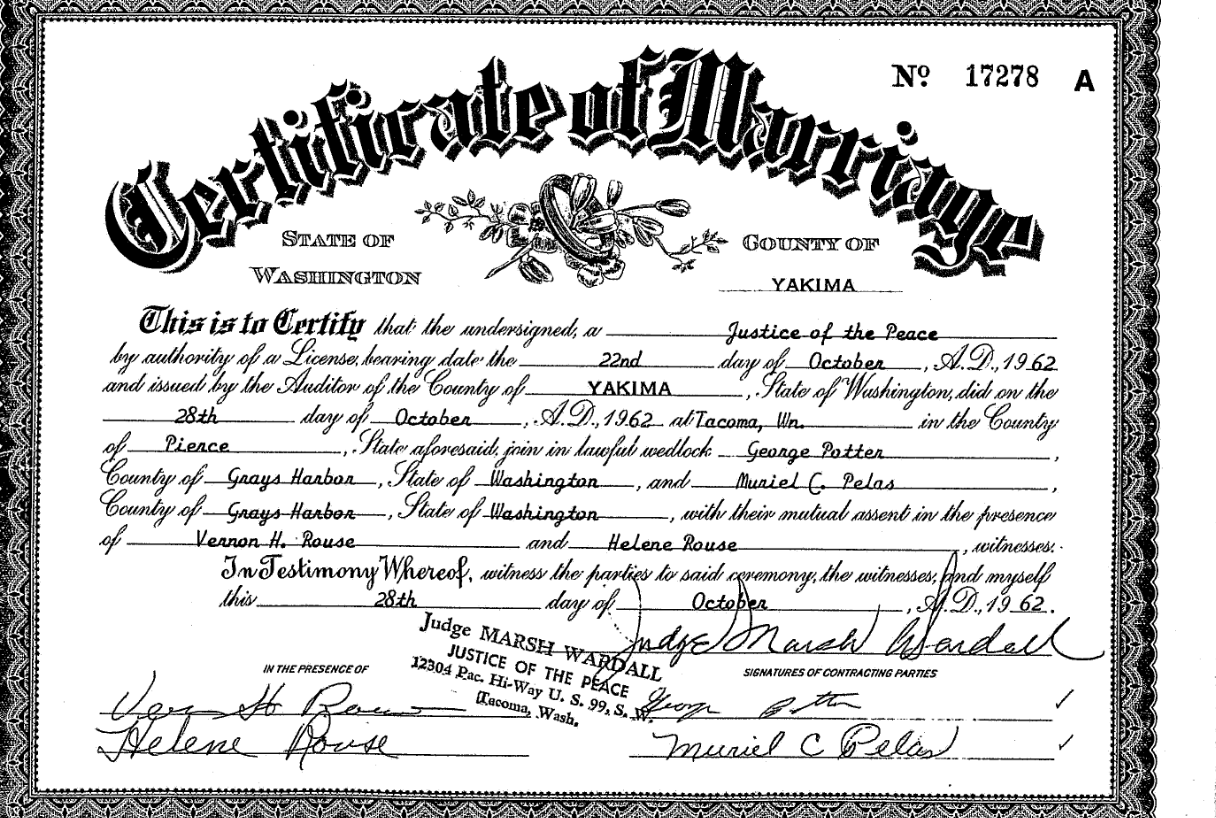 marriage records grays harbor county wa