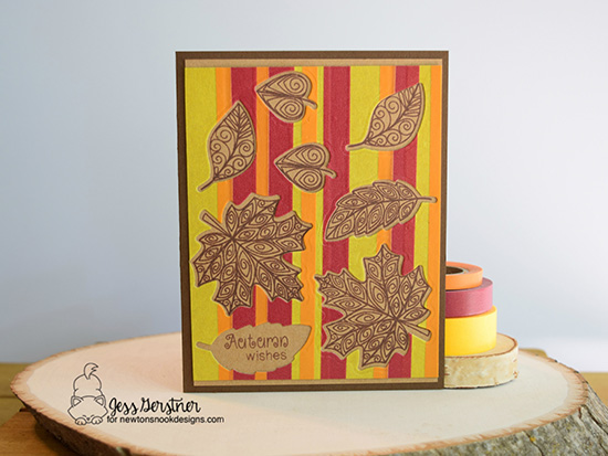 Autumn Wishes Card by Jess Gerstner | Beautiful Leaves Stamp Set & Die by Newton's Nook Designs #newtonsnook